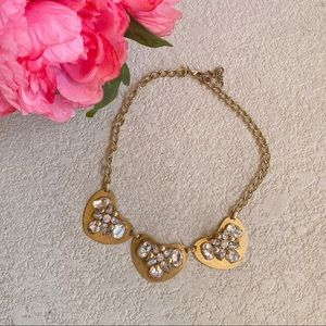 J. Crew Gold Heart Bling Statement Necklace